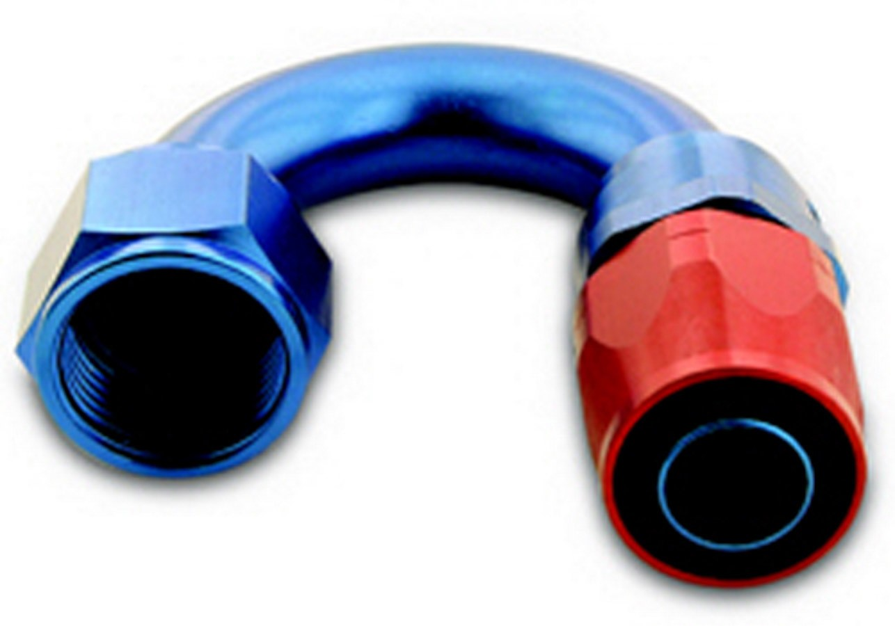 A-1 Products 01806 Fitting, Hose End, 200 Series, 180 Degree, 6 AN Hose to 6 AN Female, Aluminum, Blue / Red Anodize, Each