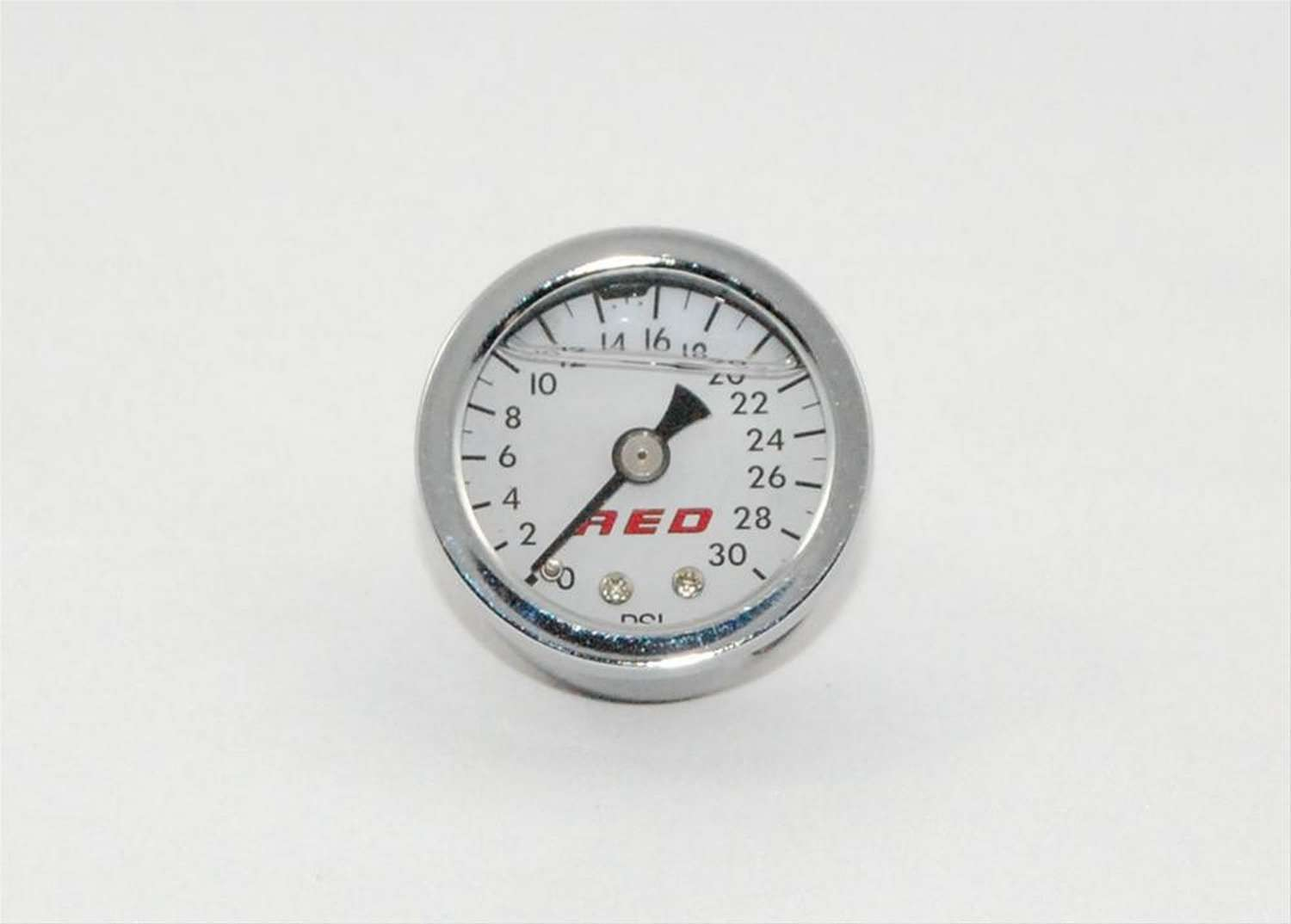 AED Performance 6103 Pressure Gauge, 0-30 psi, Mechanical, Analog, 1-1/2 in Diameter, Liquid Filled, 1/8 in NPT Port, White Face, Each