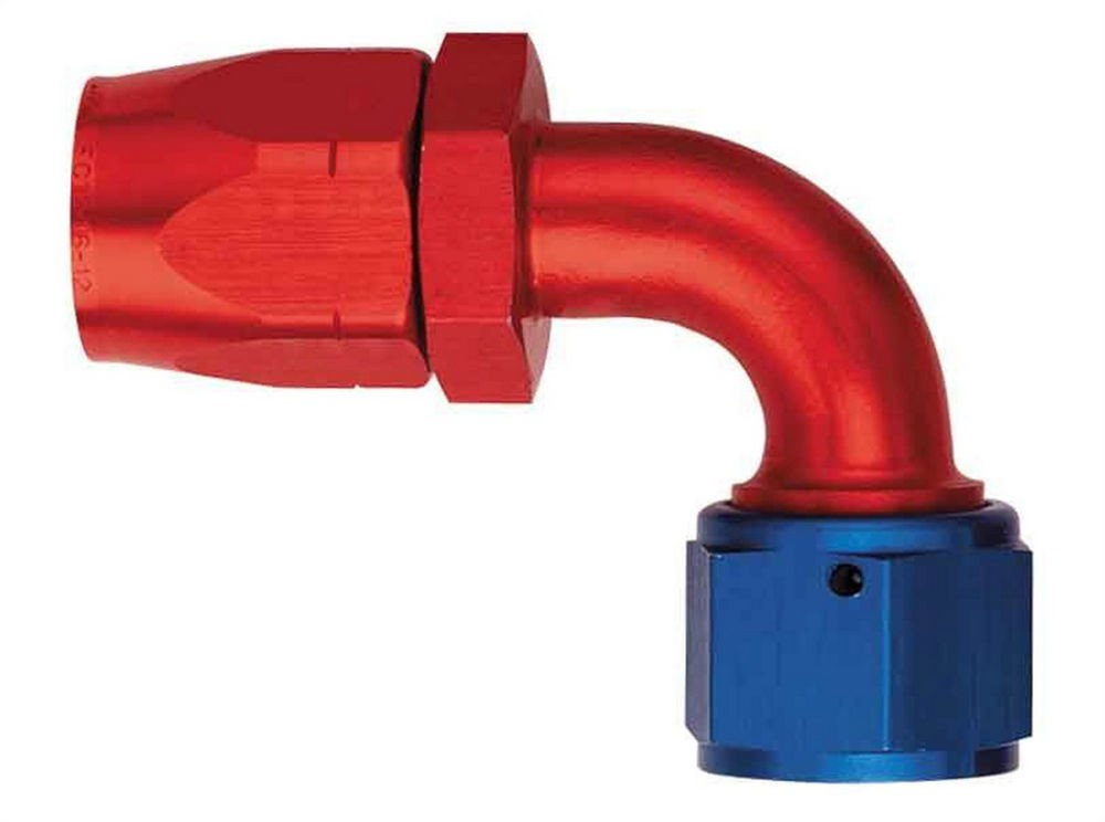 Aeroquip FBM1035 Fitting, Hose End, AQP/Startlite, 90 Degree, 12 AN Hose to 12 AN Female, Aluminum, Blue / Red Anodize, Each