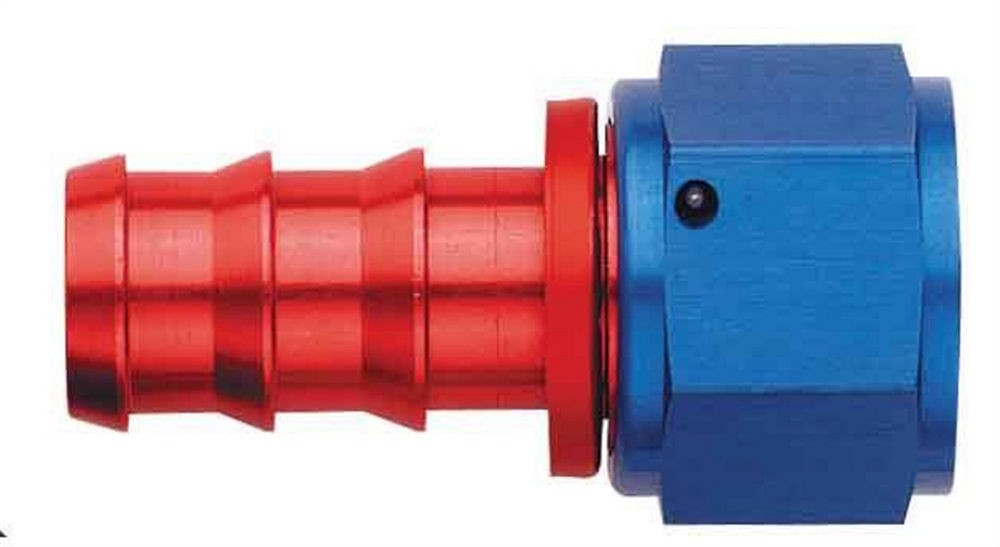 Aeroquip FBM1512 Fitting, Hose End, AQP Socketless, Straight, 6 AN Hose Barb to 6 AN Female, Aluminum, Blue / Red Anodize, Each