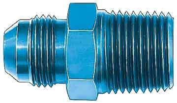Aeroquip FBM2185 Fitting, Adapter, Straight, 10 AN Male to 3/8 in NPT Male, Aluminum, Blue Anodize, Each