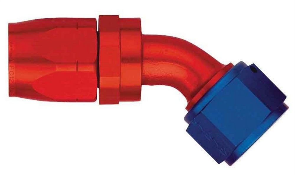 Aeroquip FBM4024 Fitting, Hose End, AQP/Startlite, 45 Degree, 10 AN Hose to 10 AN Female Swivel, Aluminum, Blue / Red Anodized, Each