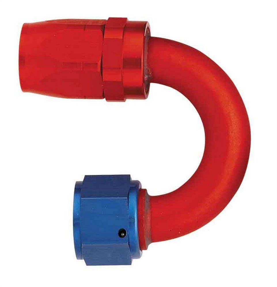 Aeroquip FBM4066 Fitting, Hose End, AQP/Startlite, 180 Degree, 16 AN Hose to 16 AN Female Swivel, Aluminum, Blue / Red Anodized, Each