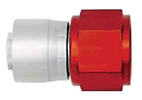 Aeroquip FBM4211 Fitting, Hose End, AQP/Startlite, Straight, 4 AN Hose Crimp to 4 AN Female, Aluminum, Red / Silver, Each