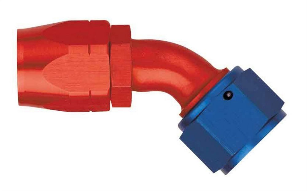 Aeroquip FCM1025 Fitting, Hose End, AQP/Startlite, 45 Degree, 12 AN Hose to 12 AN Female, Aluminum, Blue / Red Anodized, Each