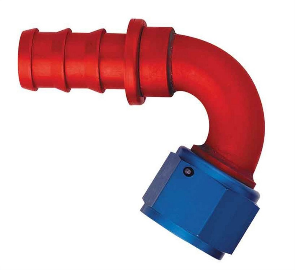 Aeroquip FCM1544 Fitting, Hose End, AQP Socketless, 120 Degree, 10 AN Hose Barb to 10 AN Female, Aluminum, Blue / Red Anodize, Each