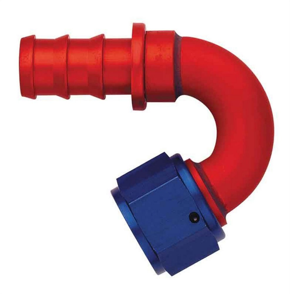 Aeroquip FCM1553 Fitting, Hose End, AQP Socketless, 150 Degree, 8 AN Hose Barb to 8 AN Female, Aluminum, Blue / Red Anodized, Each