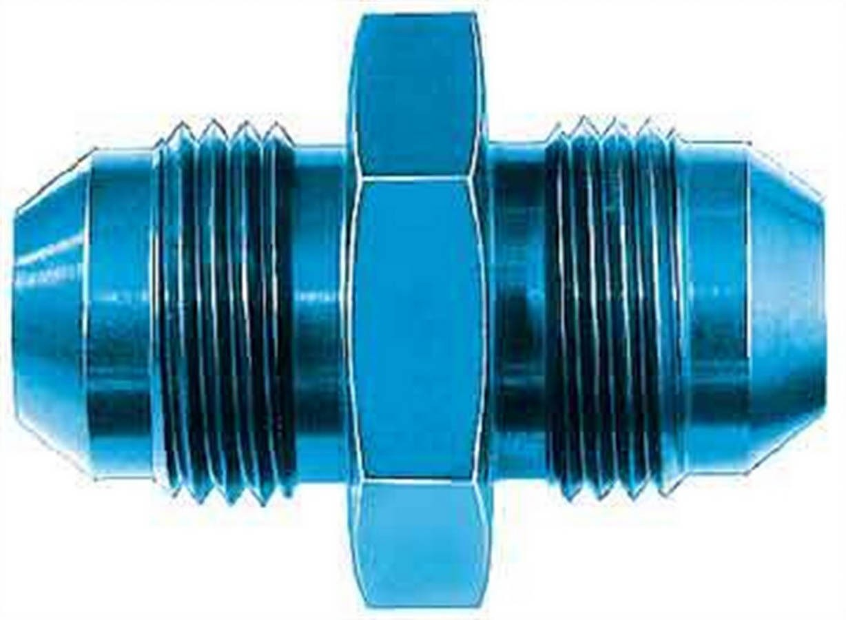 Aeroquip FCM2053 Fitting, Adapter, Straight, 8 AN Male to 8 AN Male, Aluminum, Blue Anodize, Each