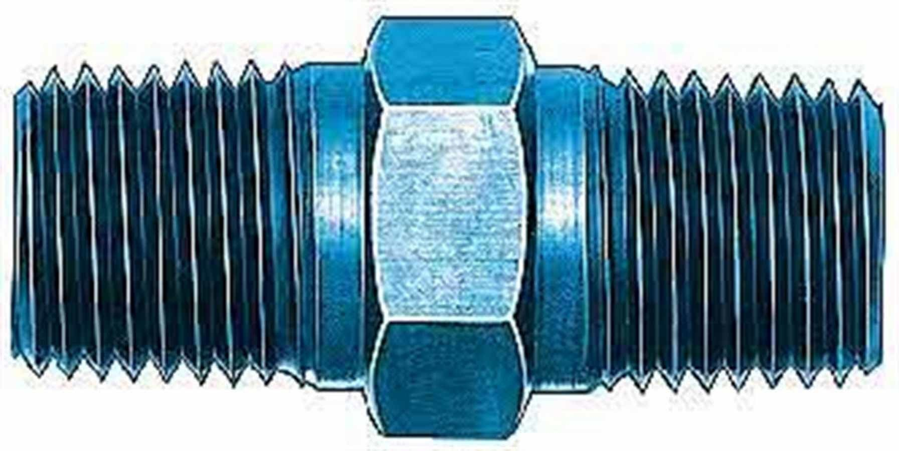 Aeroquip FCM2134 Fitting, Adapter, Straight, 3/8 in NPT Male to 3/8 in NPT Male, Aluminum, Blue Anodize, Each