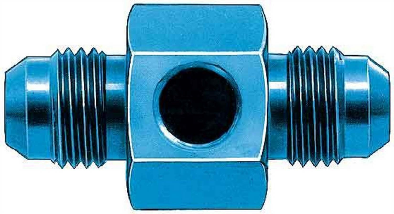 Aeroquip FCM2184 Fitting, Gauge Adapter, Straight, 8 AN Male to 8 AN Male, 1/8 in NPT Gauge Port, Aluminum, Blue Anodize, Each