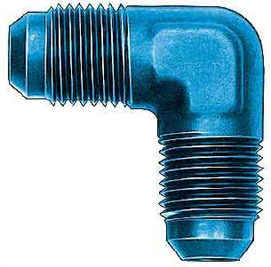 Aeroquip FCM2186 Fitting, Adapter, 90 Degree, 3 AN Male to 3 AN Male, Aluminum, Blue Anodize, Each