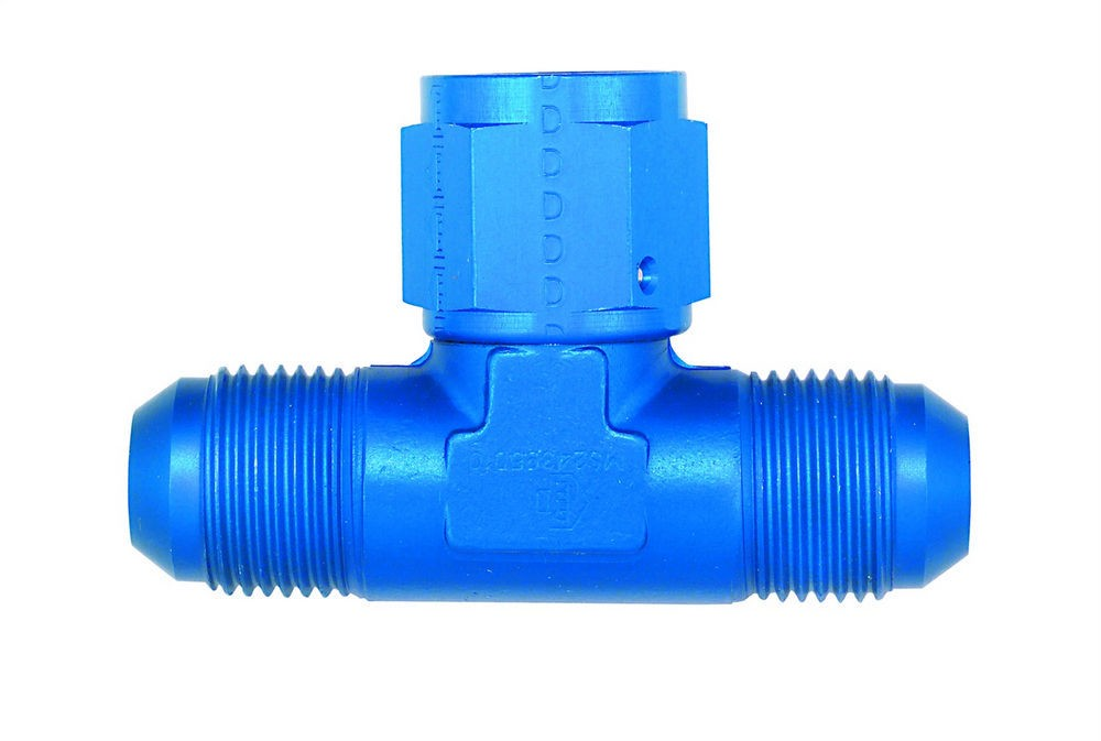 Aeroquip FCM2281 Fitting, Adapter Tee, 4 AN Male x 4 AN Male x 4 AN Female, Aluminum, Blue Anodize, Each