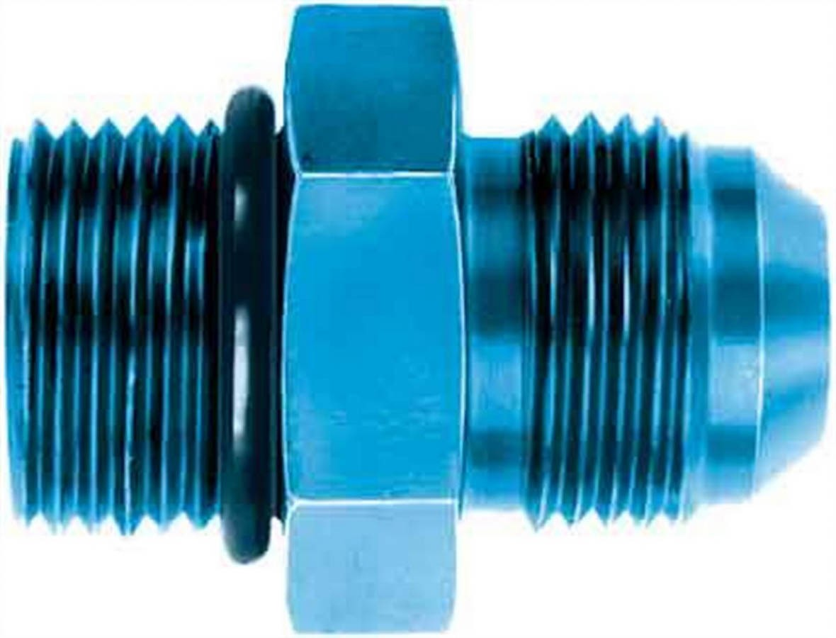 Aeroquip FCM2953 Fitting, Adapter, Straight, 10 AN Male O-Ring to 10 AN Male, Aluminum, Blue Anodize, Each