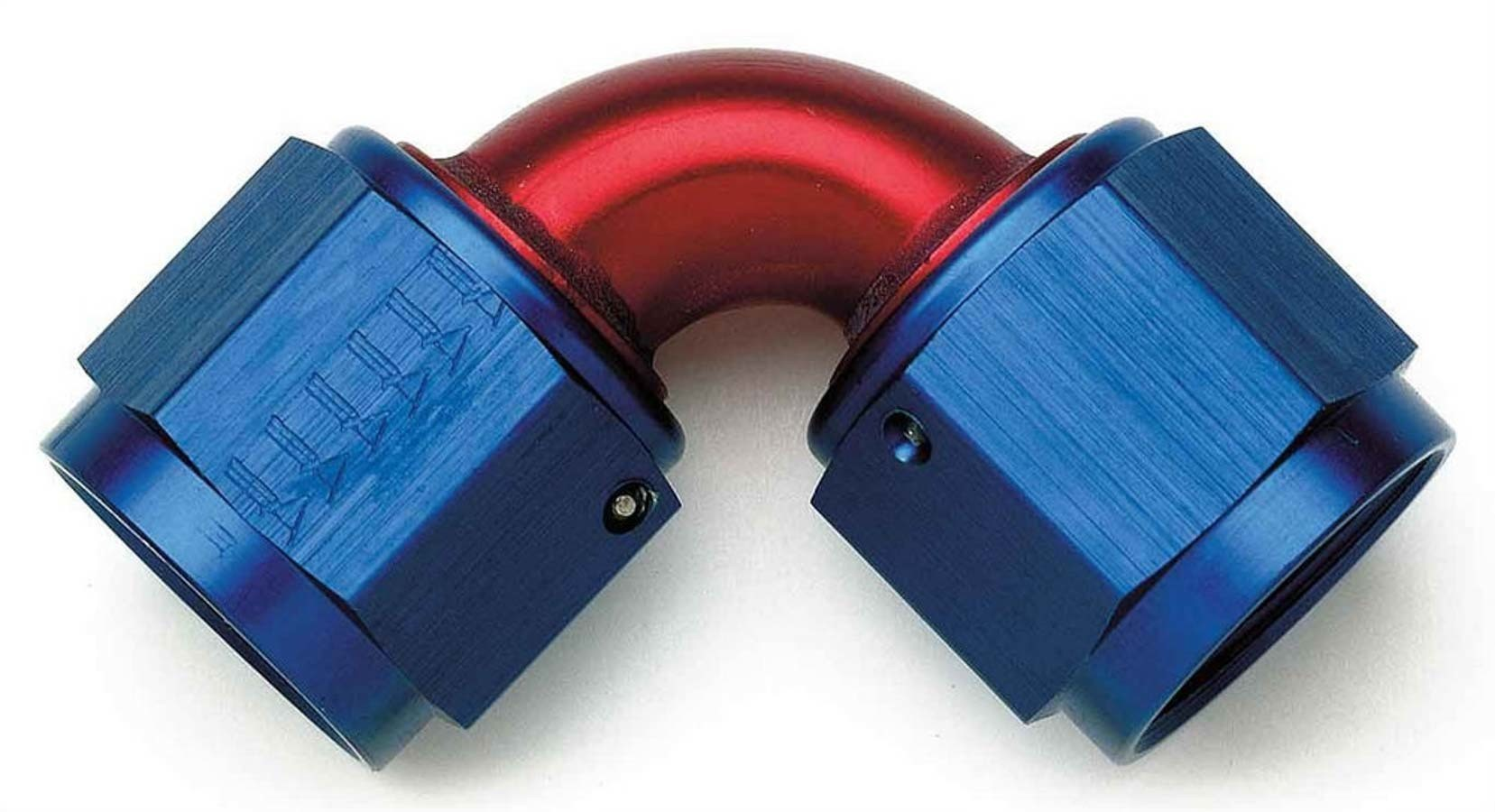 Aeroquip FCM2980 Fitting, Adapter, 90 Degree, 10 AN Female Swivel to 10 AN Female Swivel, Aluminum, Blue / Red Anodize, Each