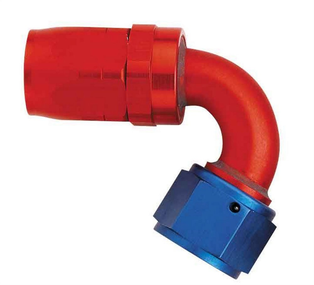 Aeroquip FCM4044 Fitting, Hose End, AQP/Startlite, 120 Degree, 10 AN Hose to 10 AN Female Swivel, Aluminum, Blue / Red Anodized, Each