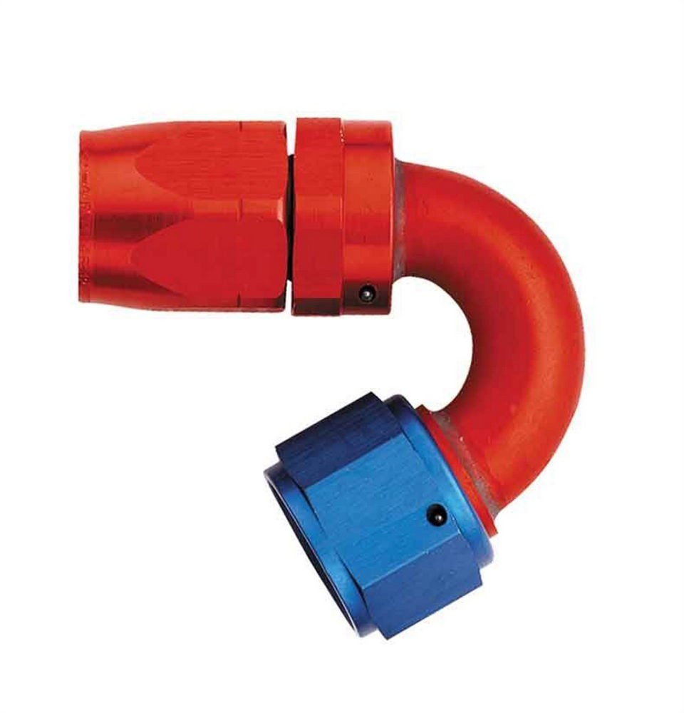 Aeroquip FCM4053 Fitting, Hose End, AQP/Startlite, 150 Degree, 8 AN Hose to 8 AN Female Swivel, Aluminum, Blue / Red Anodize, Each