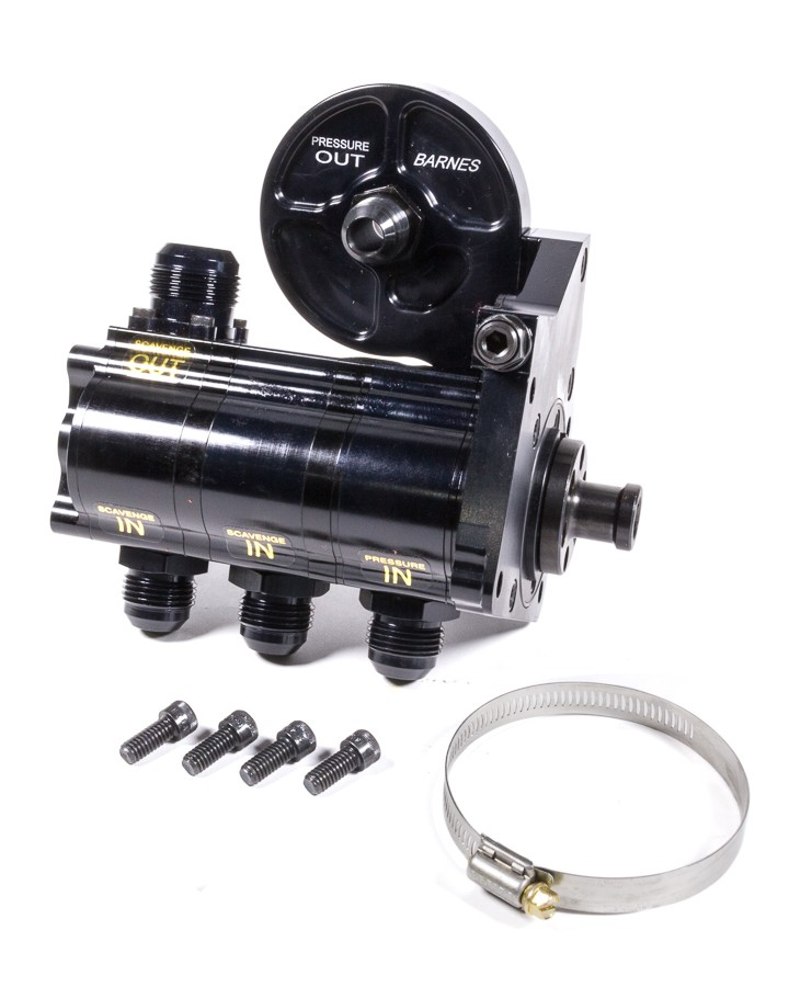 Barnes 9117-3CR1.375 Oil Pump, Dry Sump, 3 Stage, 1.375 in Pressure / 1.200 in Scavenge Stages, Camshaft Drive, Filter Mount Included, Aluminum, Each
