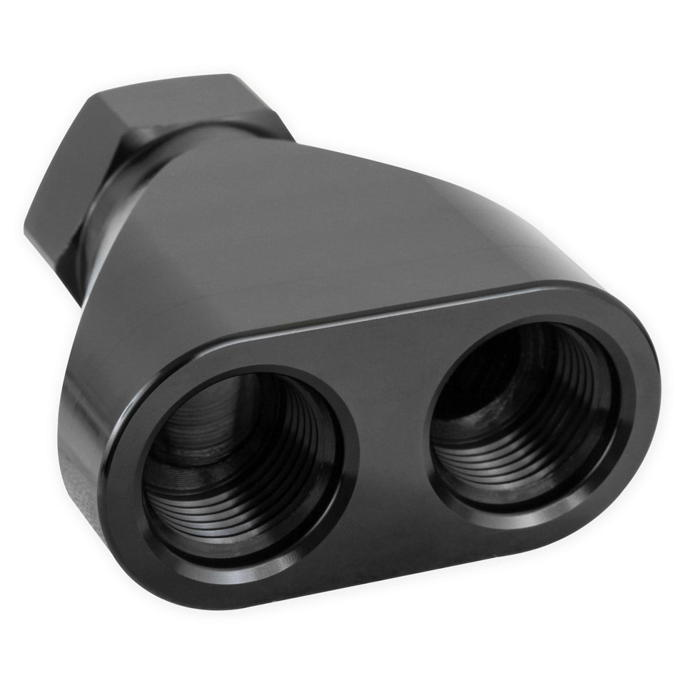 Earls 100161ERL Fitting, Y Block, 10 AN Female Inlet, Dual 8 AN Female Outlets, Aluminum, Black Anodize, Each
