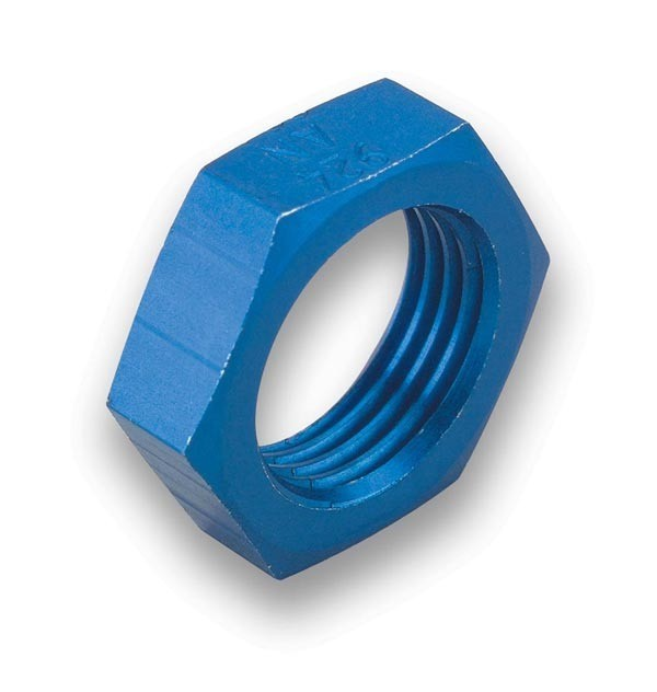 Earls 592406ERL Bulkhead Fitting Nut, 6 AN, Aluminum, Blue Anodized, Pair