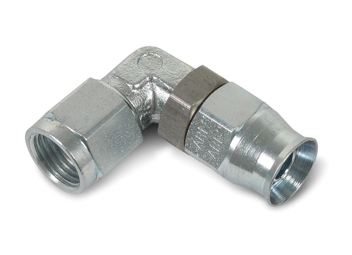 Earls 609003ERL Fitting, Hose End, Speed Seal, 90 Degree, Adjustable, 3 AN Hose to 3 AN Female, Steel, Natural, Each