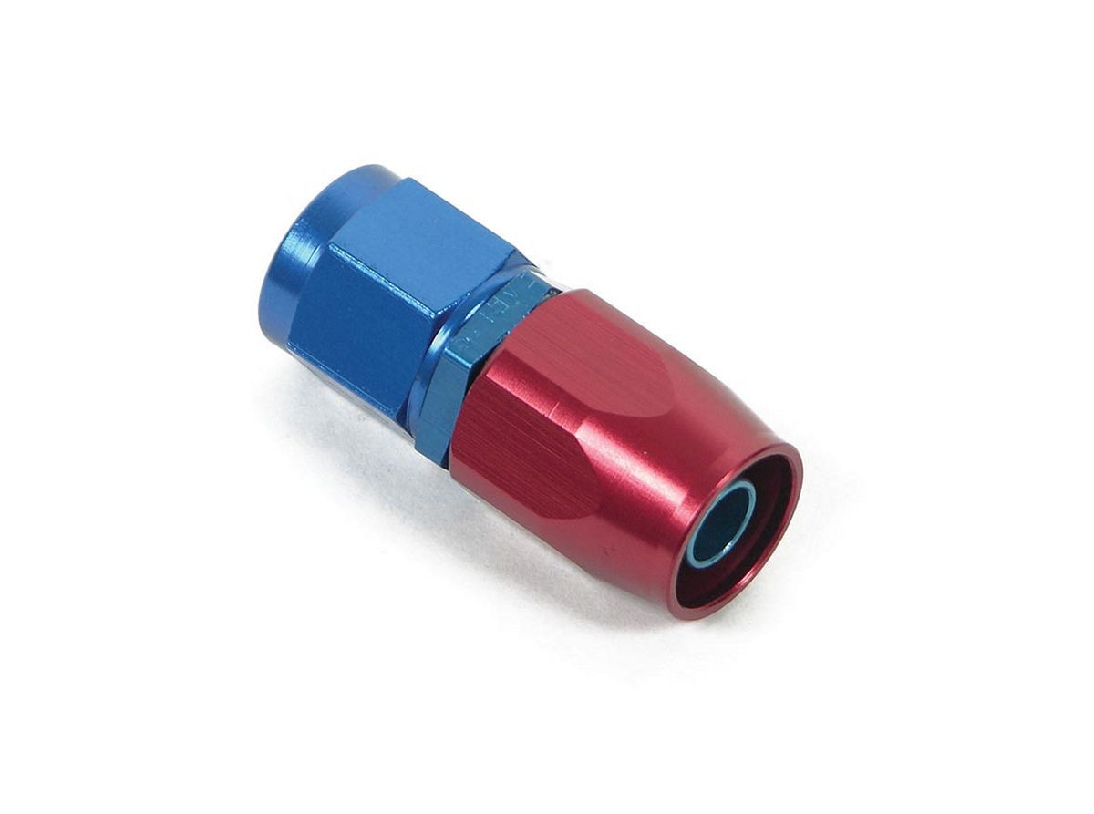 Earls 800106ERL Fitting, Hose End, Swivel-Seal, Straight, 6 AN Hose to 6 AN Female Swivel, Aluminum, Blue / Red Anodized, Each