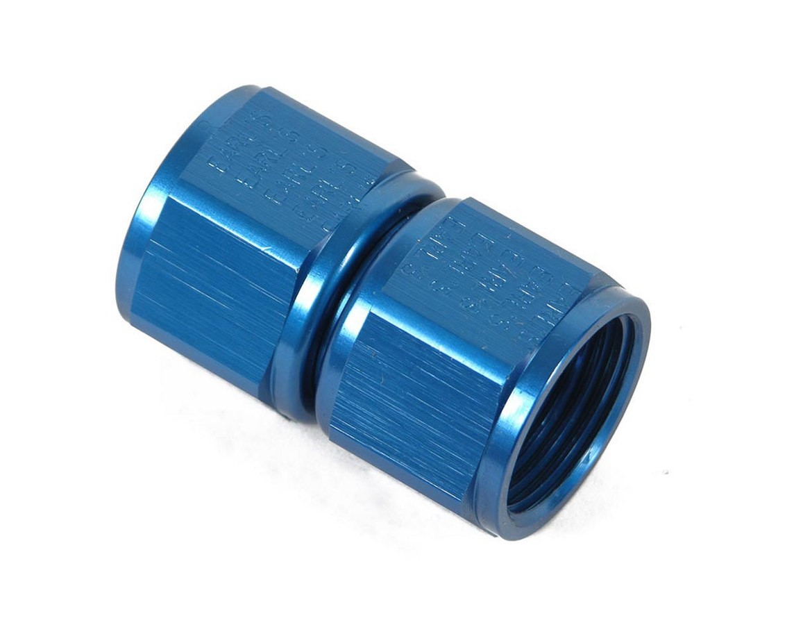 Earls 915106ERL Fitting, Adapter, Straight, 6 AN Female Swivel to 6 AN Female Swivel, Aluminum, Blue Anodize, Each