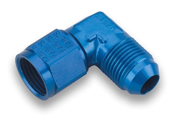 Earls 921112ERL Fitting, Adapter, 90 Degree, 12 AN Female Swivel to 12 AN Male, Aluminum, Blue Anodize, Each