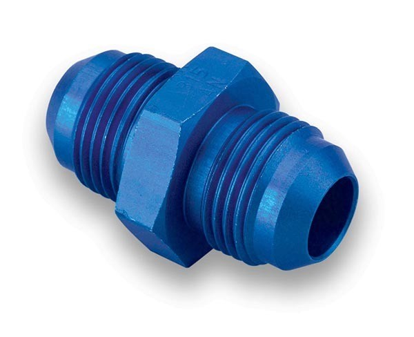 Earls 981504ERL Fitting, Adapter, Straight, 4 AN Male to 4 AN Male, Aluminum, Blue Anodized, Each