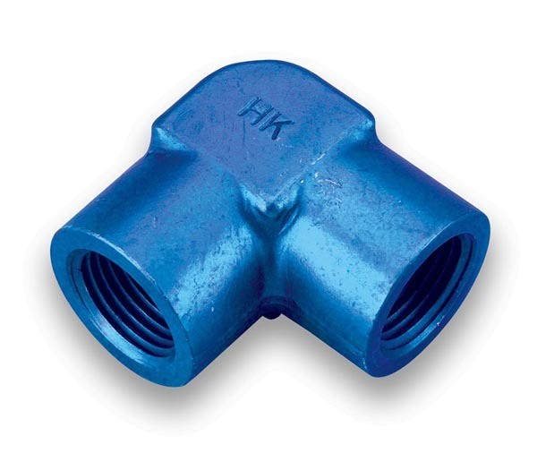 Earls 991603ERL Fitting, Adapter, 90 Degree, 3/8 in NPT Female to 3/8 in NPT Female, Aluminum, Blue Anodize, Each