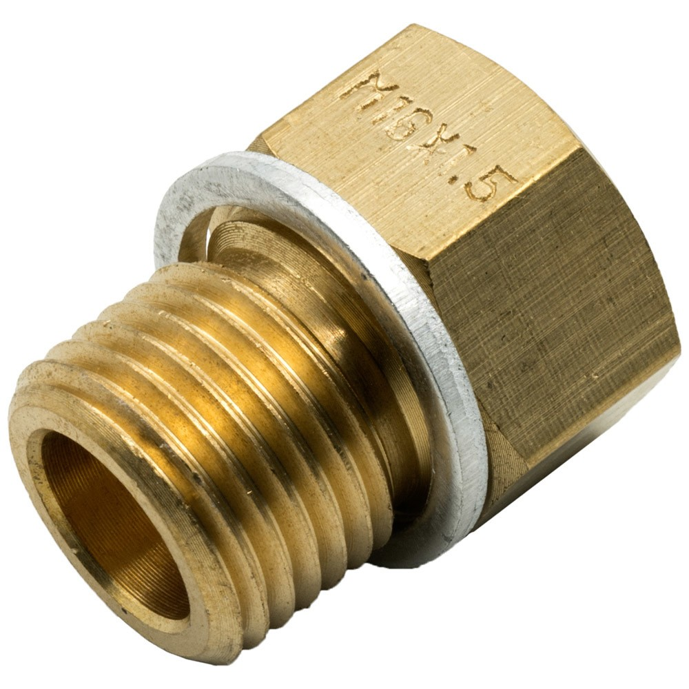 Equus E9852 Fitting, Adapter, Straight, 10 AN Female to 3/8-18 NPT Male / 1/4-18 NPT Male, 1/2-14 NPT Male / 16 mm x 1.5 Male, Brass, Natural, Kit