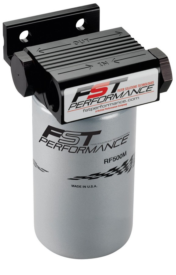 FST Performance RPM500 Fuel Filter, FloMax 500, Canister, 3 Micron, Stainless Element, 12 AN Female Inlet, 12 AN Female Outlet, 300 gph, Black Anodize, Each