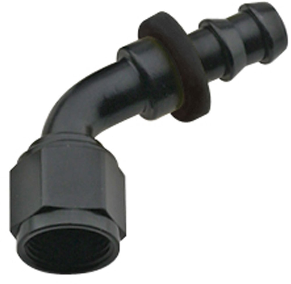 Fragola 206006-BL Fitting, Hose End, 8000 Series Push-Lite, 60 Degree, 6 AN Hose Barb to 6 AN Female, Aluminum, Black Anodize, Each