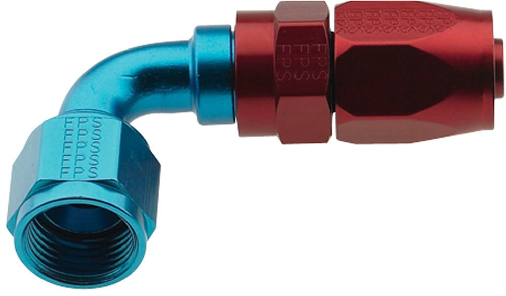 Fragola 229010 Fitting, Hose End, 2000 Series Pro Flow, 90 Degree, 10 AN Hose to 10 AN Female, Swivel, Aluminum, Blue / Red Anodize, Each