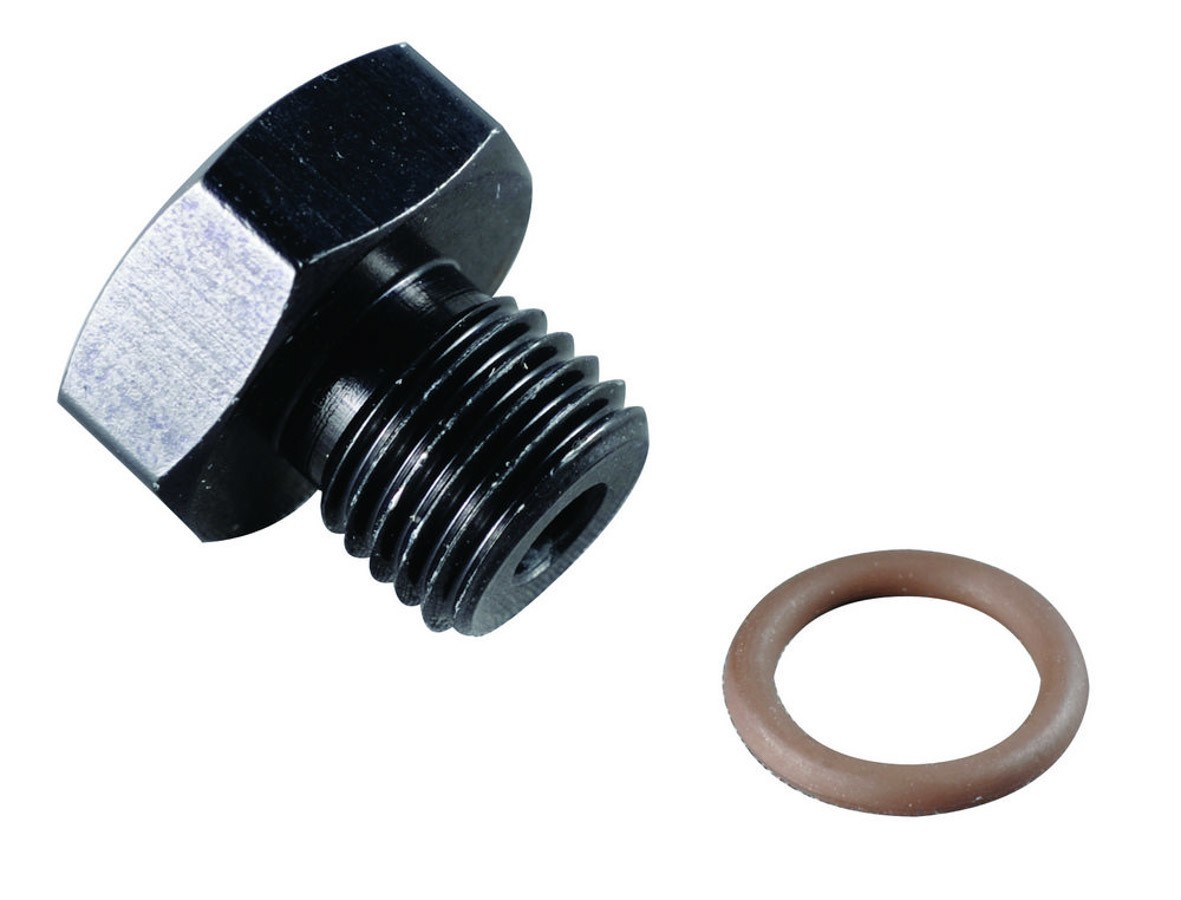 Fragola 481412-BL Fitting, Plug, 12 AN, O-Ring, Hex Head, Aluminum, Black Anodize, Each