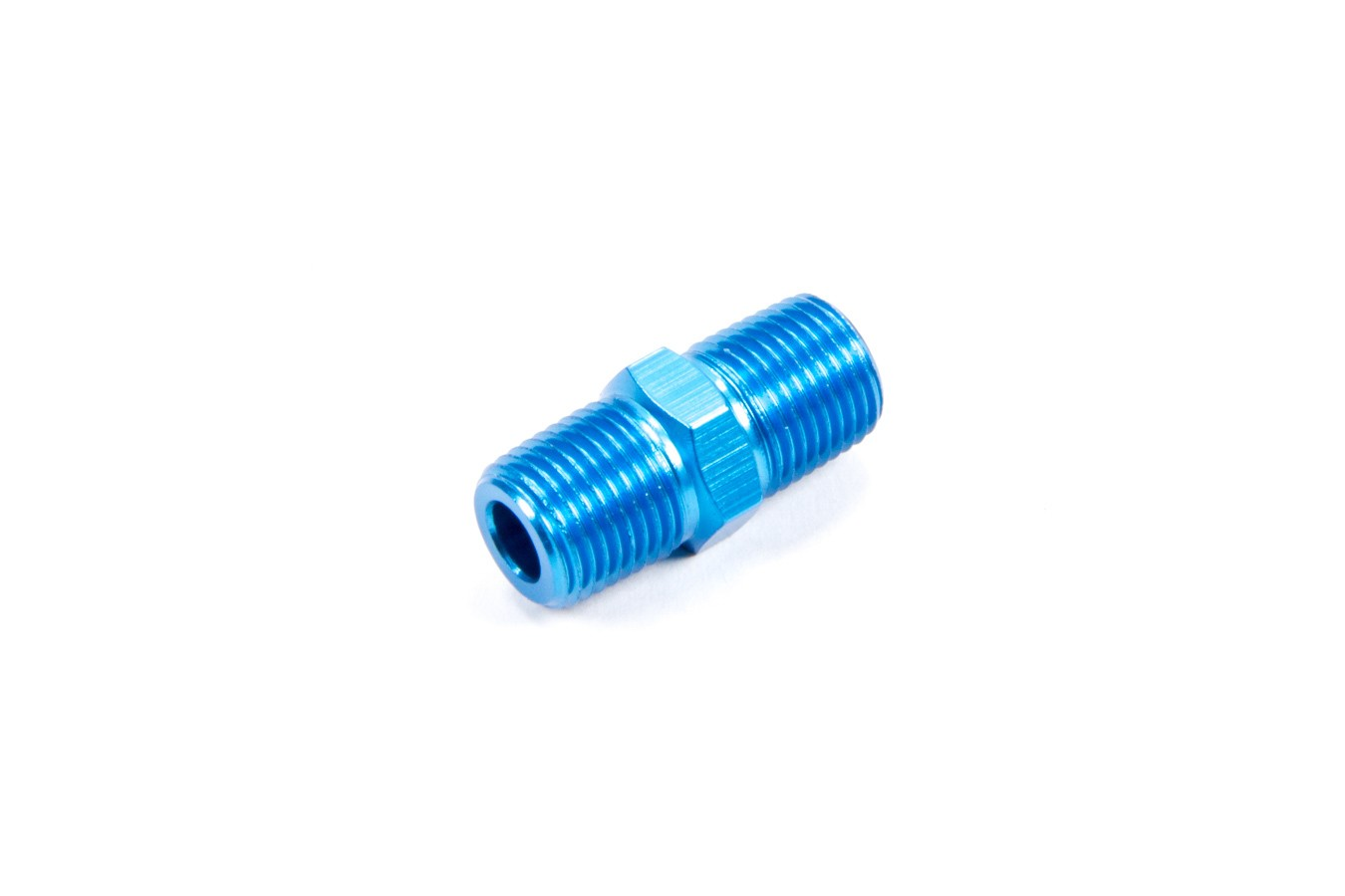 Fragola 491101 Fitting, Adapter, Straight, 1/8 in NPT Male to 1/8 in NPT Male, Aluminum, Blue Anodize, Each