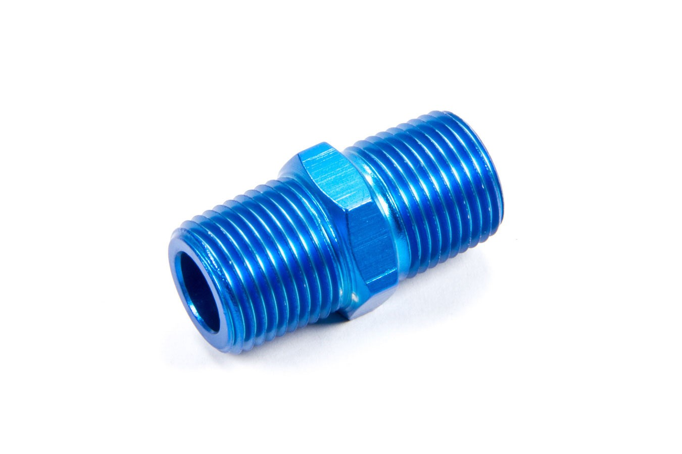 Fragola 491103 Fitting, Adapter, Straight, 3/8 in NPT Male to 3/8 in NPT Male, Aluminum, Blue Anodize, Each