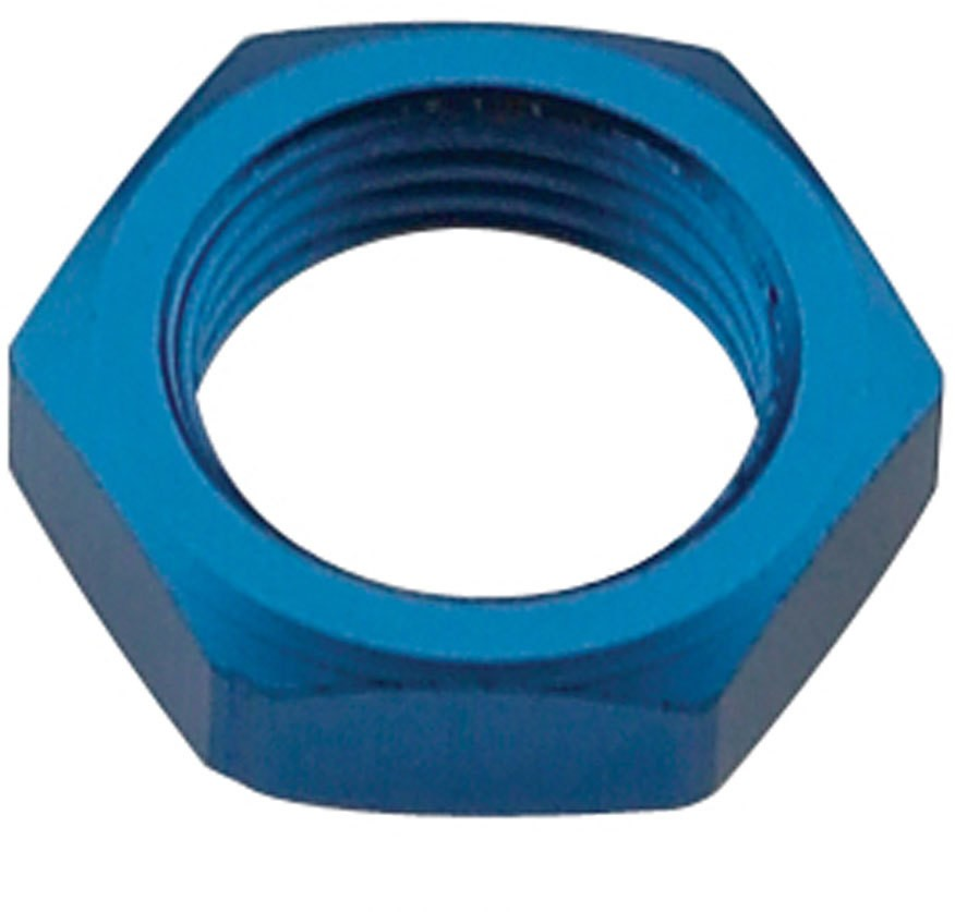 Fragola 492410 Bulkhead Fitting Nut, 10 AN, Aluminum, Blue Anodize, Each