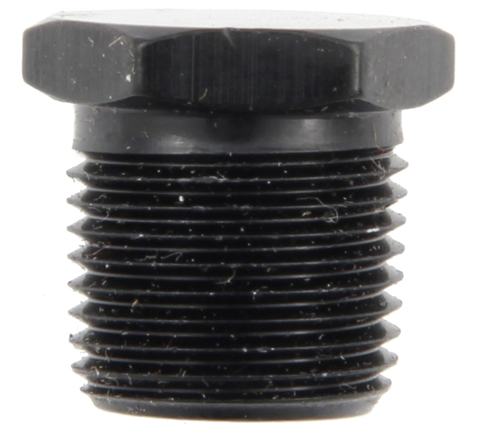 Fragola 493303-BL Fitting, Plug, 3/8 in NPT, Hex Head, Aluminum, Black Anodize, Each