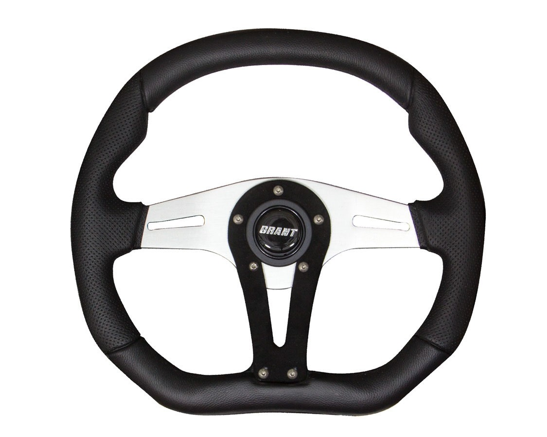 Grant 490 Steering Wheel, Performance and Race 13-3/4 in Diameter, 3-Spoke, Black Leather Grip, Aluminum, Polished, Each
