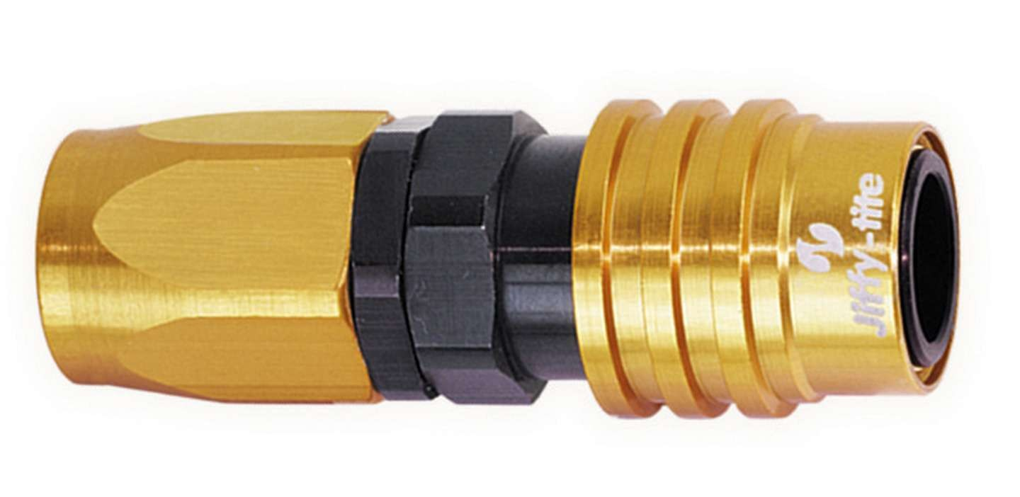 Jiffy Tite 31608 Quick Release Hose End, 3000 Series, Straight, 8 AN Hose to Quick Release Socket, Valved, FKM Seal, Aluminum, Black / Gold Anodize, Each