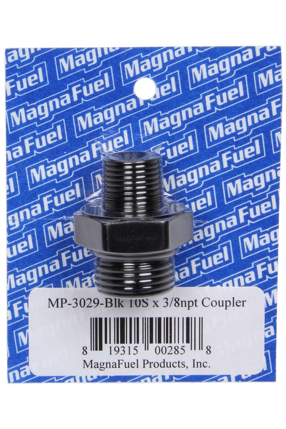 Magnafuel MP-3029-BLK Fitting, Adapter, Straight, 10 AN Male O-Ring to 3/8 in NPT Male, Aluminum, Black Anodize, Each
