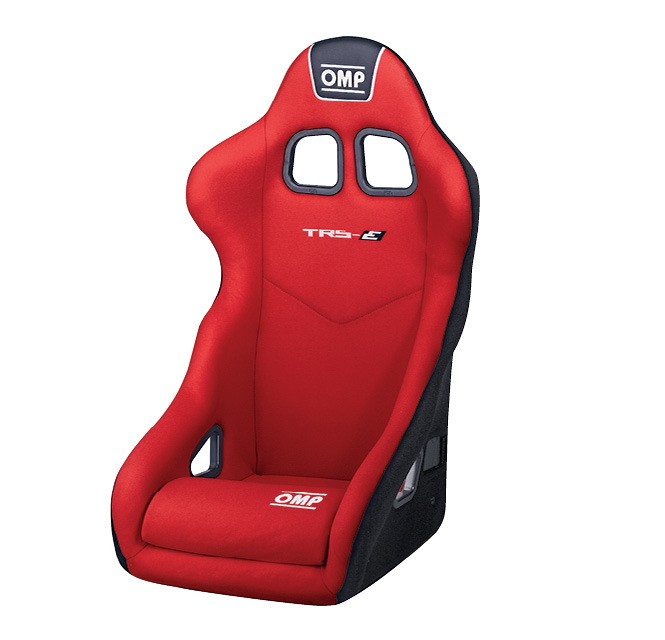 OMP Racing HA741ER Seat, TRS-E, Driver Side, FIA Approved, Harness Openings, Velour, Red, Each