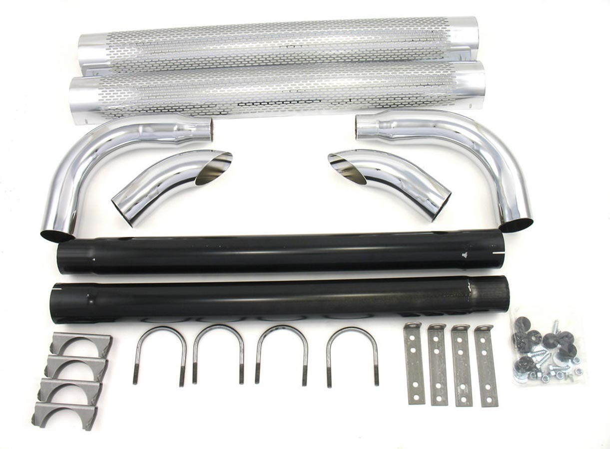 Patriot Exhaust H1080 Exhaust Side Pipes, Shielded, 80 in Long, 2 or 2-1/2 in Inlet, 3 in Outlet, Steel, Chrome, Universal, Pair