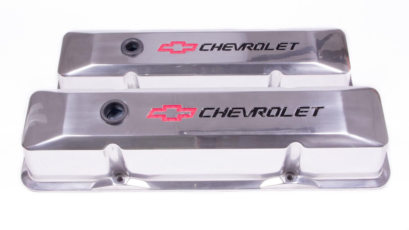 Proform 141-108 Valve Cover, Die-Cast, Tall, Baffled, Breather Hole, Recessed Chevrolet Bowtie Logo, Aluminum, Polished, Small Block Chevy, Pair