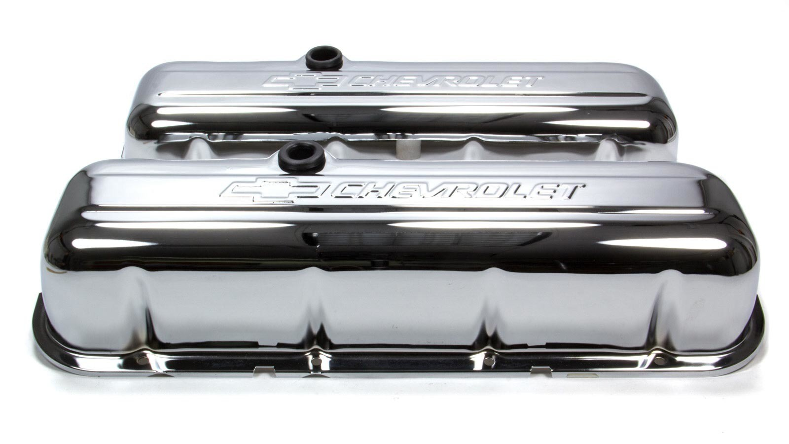 Proform 141-115 Valve Cover, Tall, Baffled, Breather Hole, Chevrolet Bowtie Logo, Steel, Chrome, Big Block Chevy, Pair