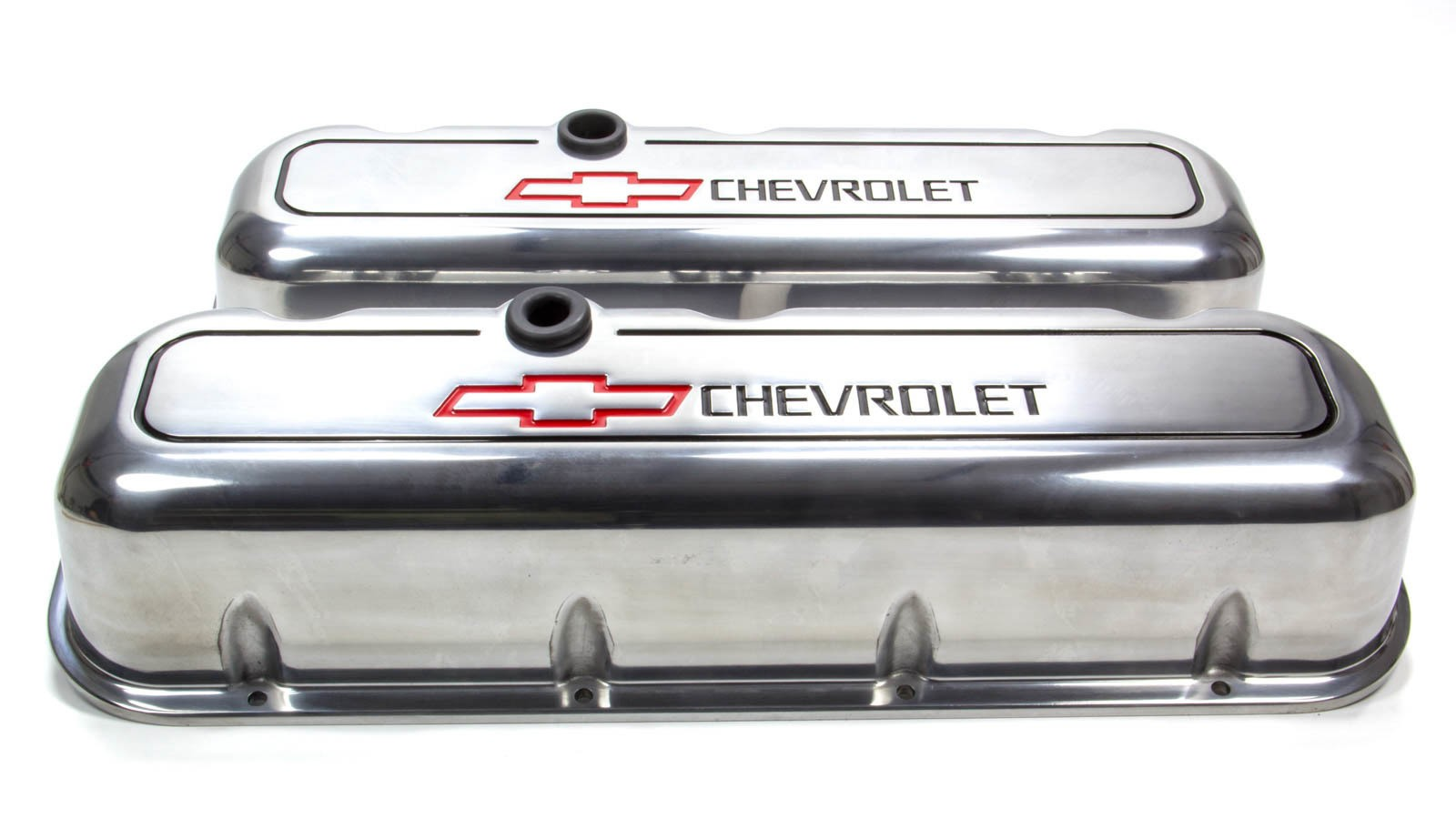 Proform 141-142 Valve Cover, Die-Cast, Tall, Baffled, Breather Hole, Recessed Chevrolet Bowtie Logo, Aluminum, Polished, Big Block Chevy, Pair