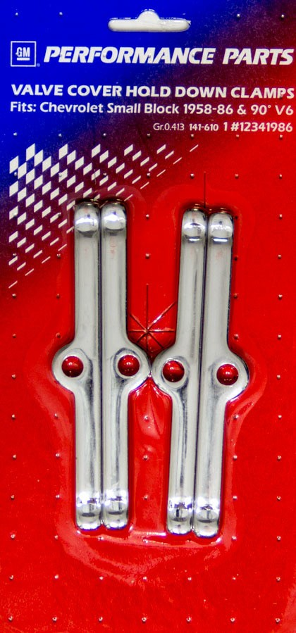 Chrome Set of 4 Small Block Chevy Moroso 68510 Valve Cover Hold Down Tabs