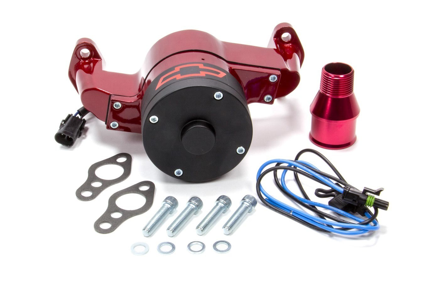 Proform 141-652 Water Pump, Electric, 1 in NPT Female Inlet, Adapter / Gaskets / Hardware, Bowtie Logo, Billet Aluminum, Red Powder Coat, Small Block Chevy, Kit