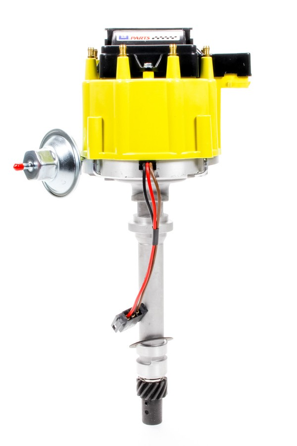 Proform 141-681 Distributor, GM Performance, Magnetic Pickup, Vacuum Advance, HEI Style Terminal, Coil Included, Yellow, Chevy V8, Each