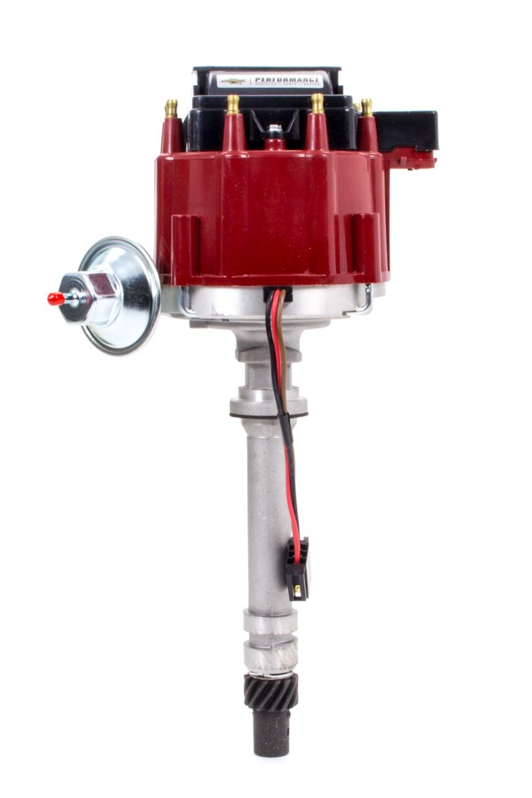 Proform 141-683 Distributor, GM Performance, Magnetic Pickup, Vacuum Advance, HEI Style Terminal, Coil Included, Red, Chevy V8, Each